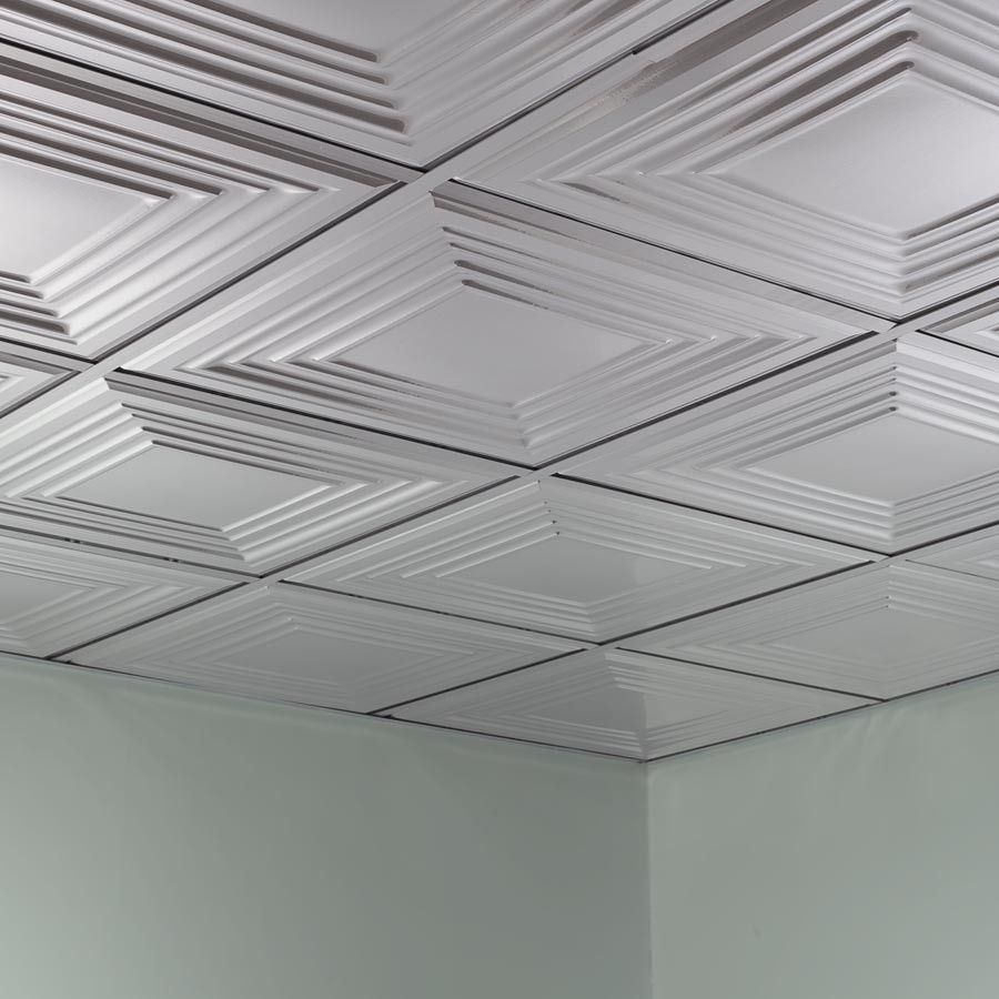 Fasade Ceiling Tile 2x2 Suspended Traditional 3 In Brushed Aluminum Vintage Tin Ceiling Tile Ceiling Tile Ceiling Tiles