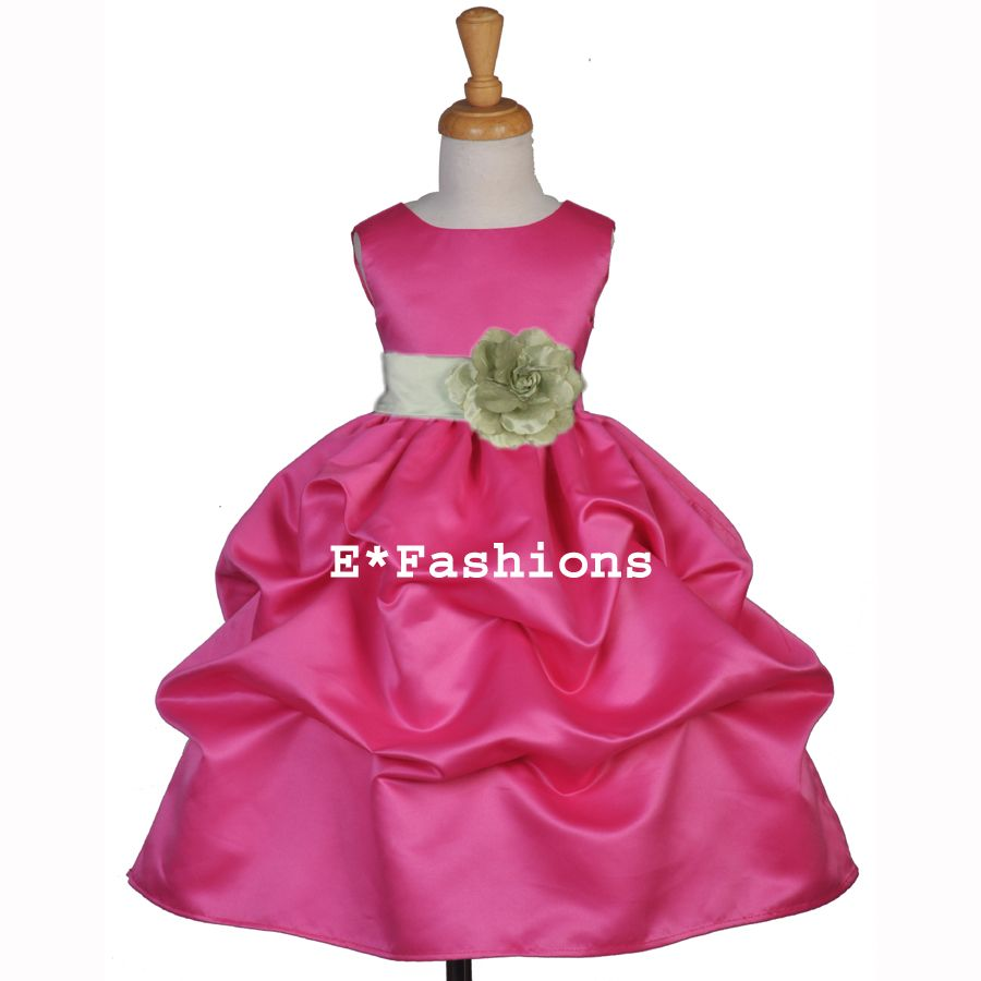 Fuchsia pink sage green christmas party flower girl dress love this
