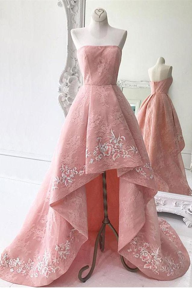 A-Line Strapless Asymmetry Pink Lace Prom Dress with Appliques ...