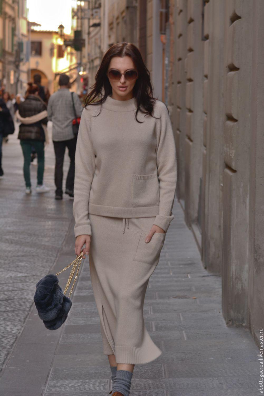 Купить Вязаный костюм Style me pretty cashmere с юбкой ...