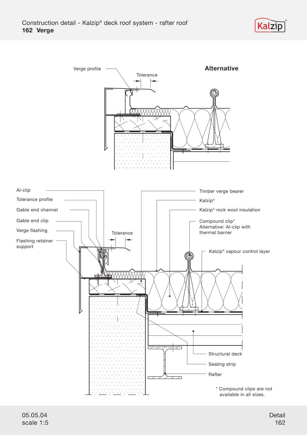 Auto cad drawings flat roof with parapet wall detail - Kalzip Construction Details