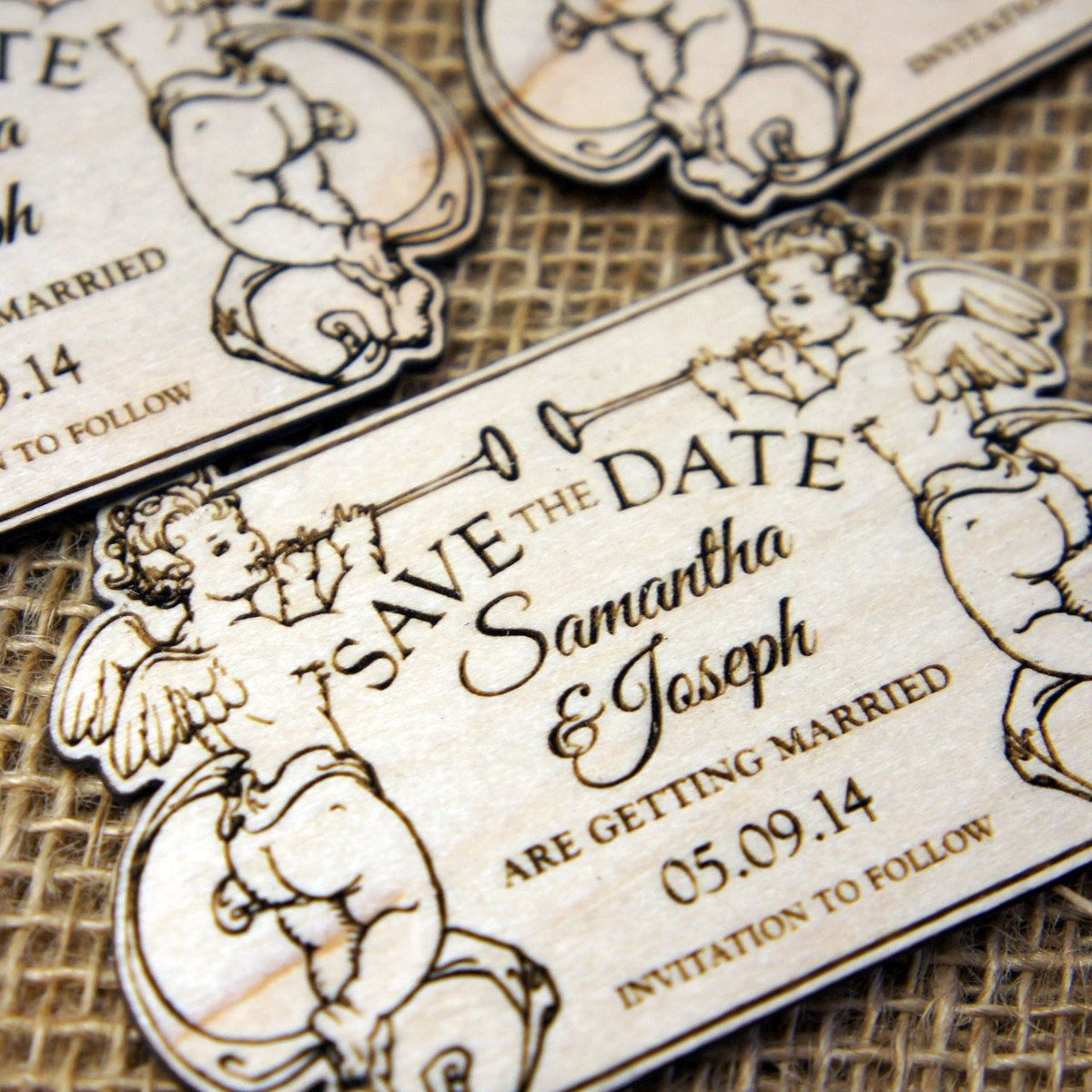 Wooden Save the Date Cherubs Save the date