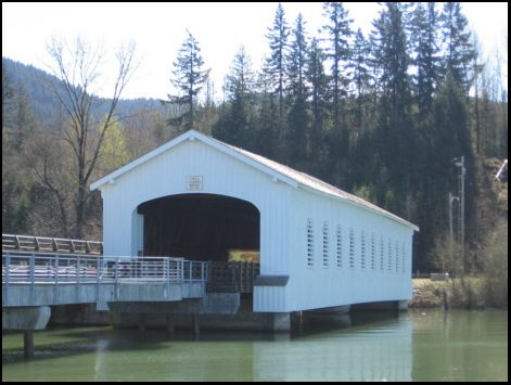 Lowell Covered Bridge Dexter Reservoir, Lane County Middle Fork Willamette River 1945 Hwy 58