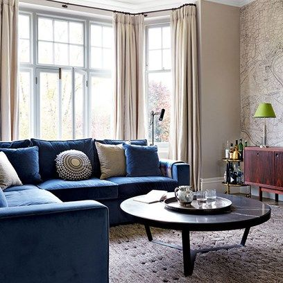 Living Room With Velvet L Shaped Sofa And Map Print Wallpaper Blue Couch Living Room Small Living Rooms Small Modern Living Room