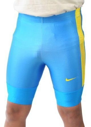 51ef18ebd237c Nike Men's HALF TIGHT Dri-Fit Cycling Running Training Shorts Blue-Yellow
