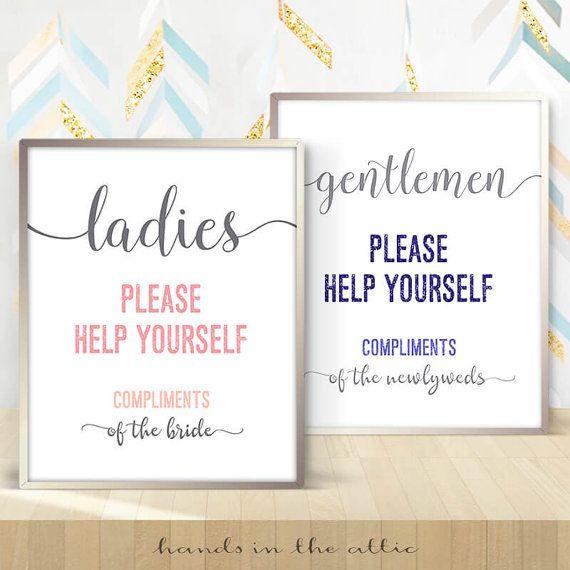 Hospitality Basket Bathroom Wedding Sign Ladies Gents Room Please Help Yourself Gentlemen Mens Toilet Washroom Powder