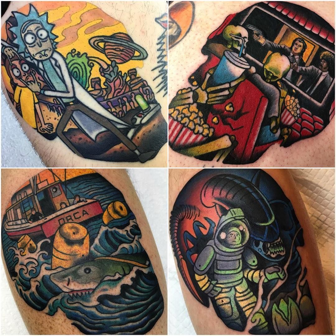 Instagram Jaw Tattoos: Rick And Morty, Pulp Fiction, Jaws And Alien Tattoos By
