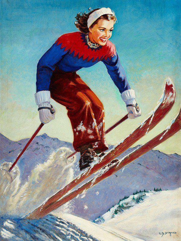 Открытка лыжнику на день рождения