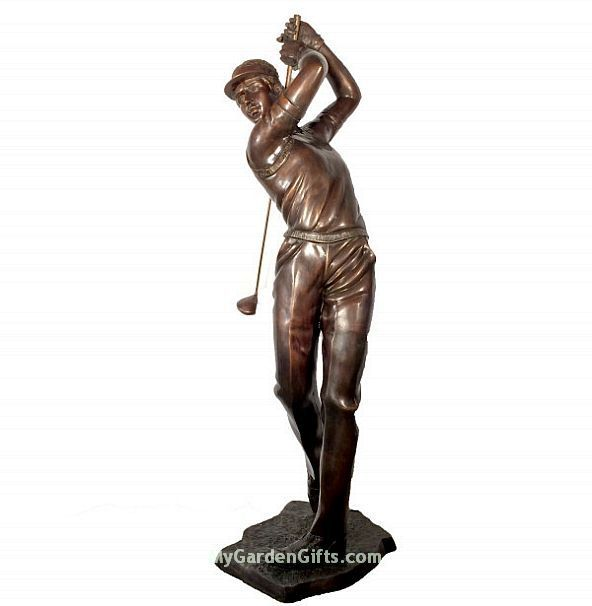 Young Golfer Life Size Sculpture   A Male Golfer Shows Promise In This Life  Size Golfer
