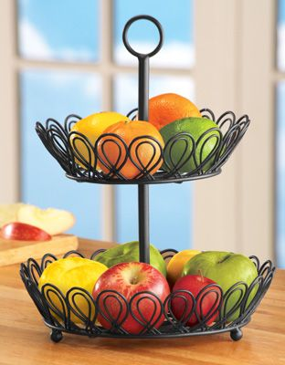 Fruit Basket For Kitchen Light Bulbs 2 Tier Wire Baskets Bowls