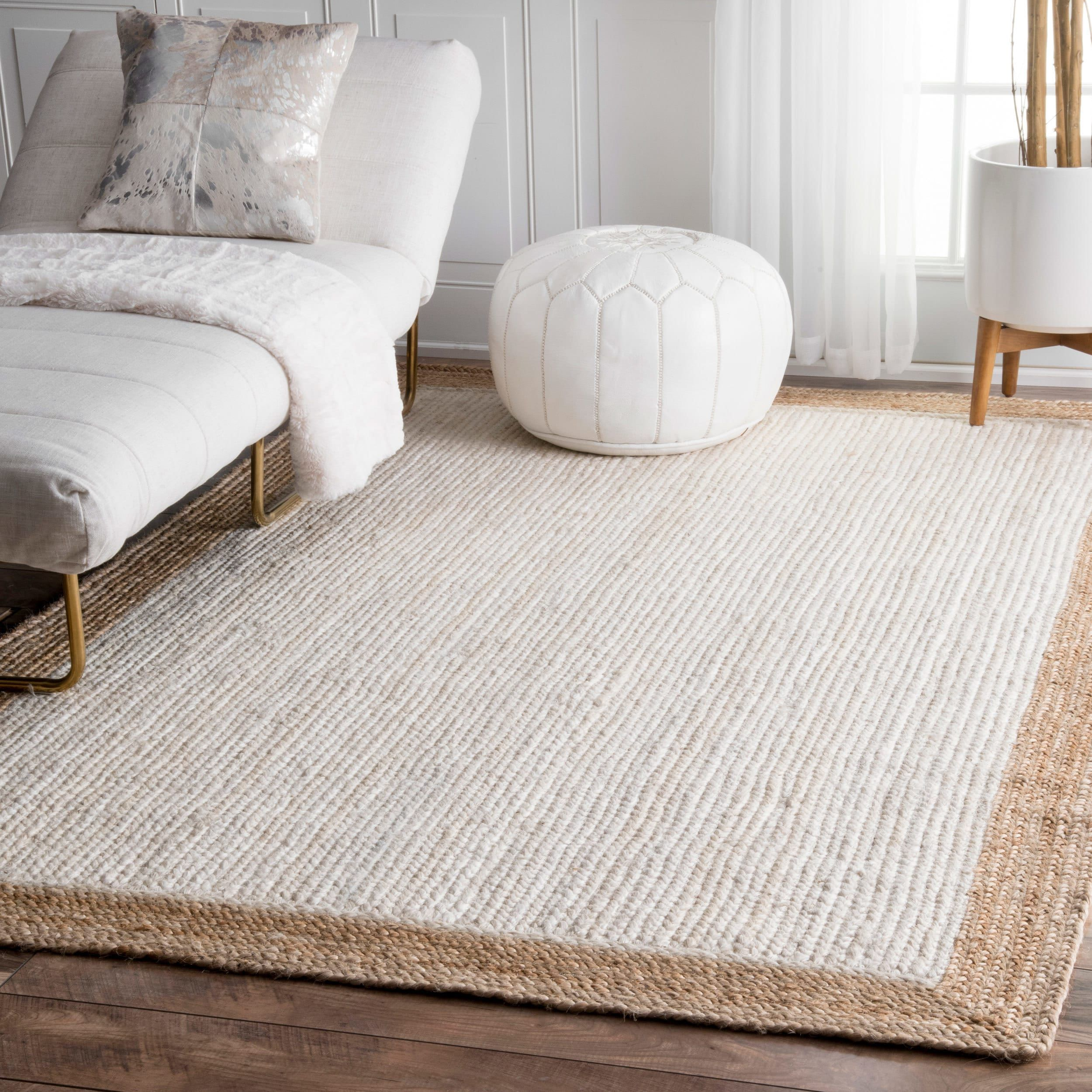 The gray barn cinch buckle braided reversible border white jute area rug 2 x 3