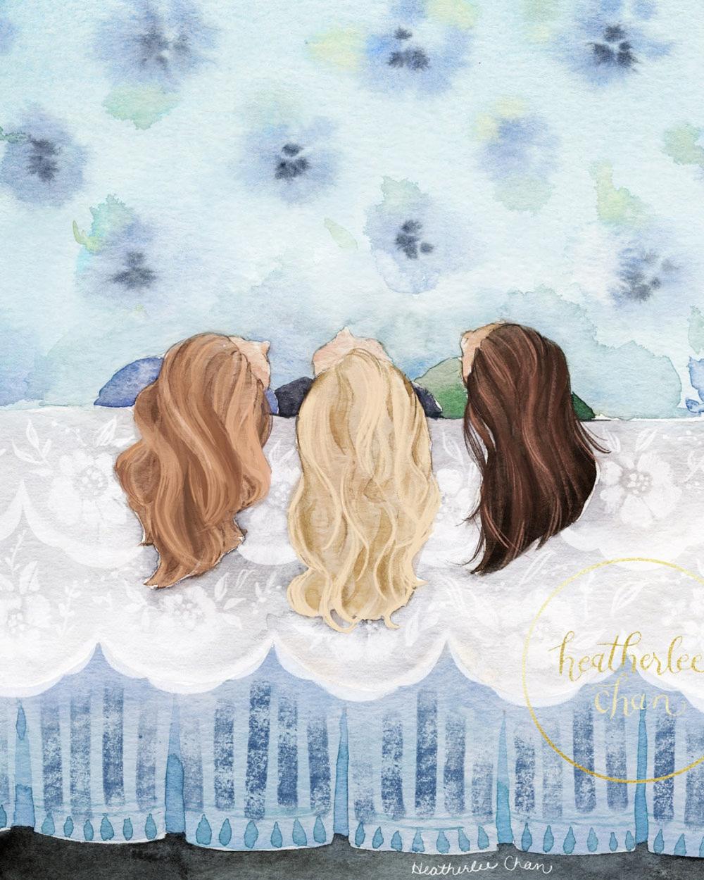 Three Best Friends Three Sisters Art Watercolor Painting Etsy Drawings Of Friends Sisters Art Best Friend Drawings