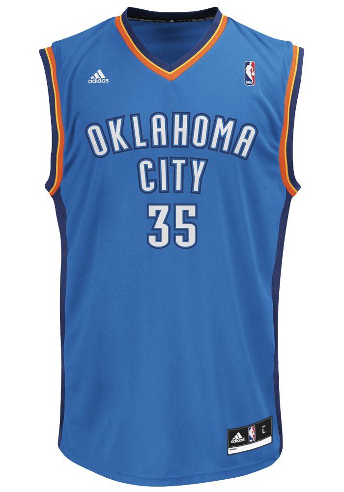 13a4e944598 Adidas Oklahoma City Thunder Jersey- Kevin Durant  35 Blue Replica Jersey