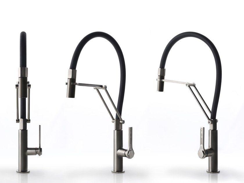 Countertop Stainless Steel Kitchen Mixer Tap With Spray Officine Gessi 60055 By Gess Kitchen Mixer Taps Stainless Steel Kitchen Replacing Kitchen Countertops