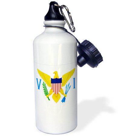 3dRose Virgin Islands Flag, Sports Water Bottle, 21oz, White