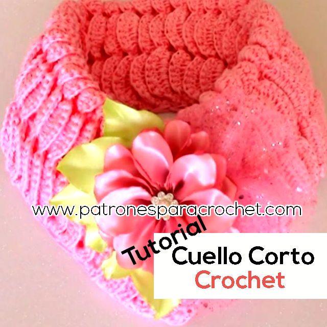 Cuello o Bufanda Corta Crochet / Tutorial Fácil   Patrones, Tejido y ...