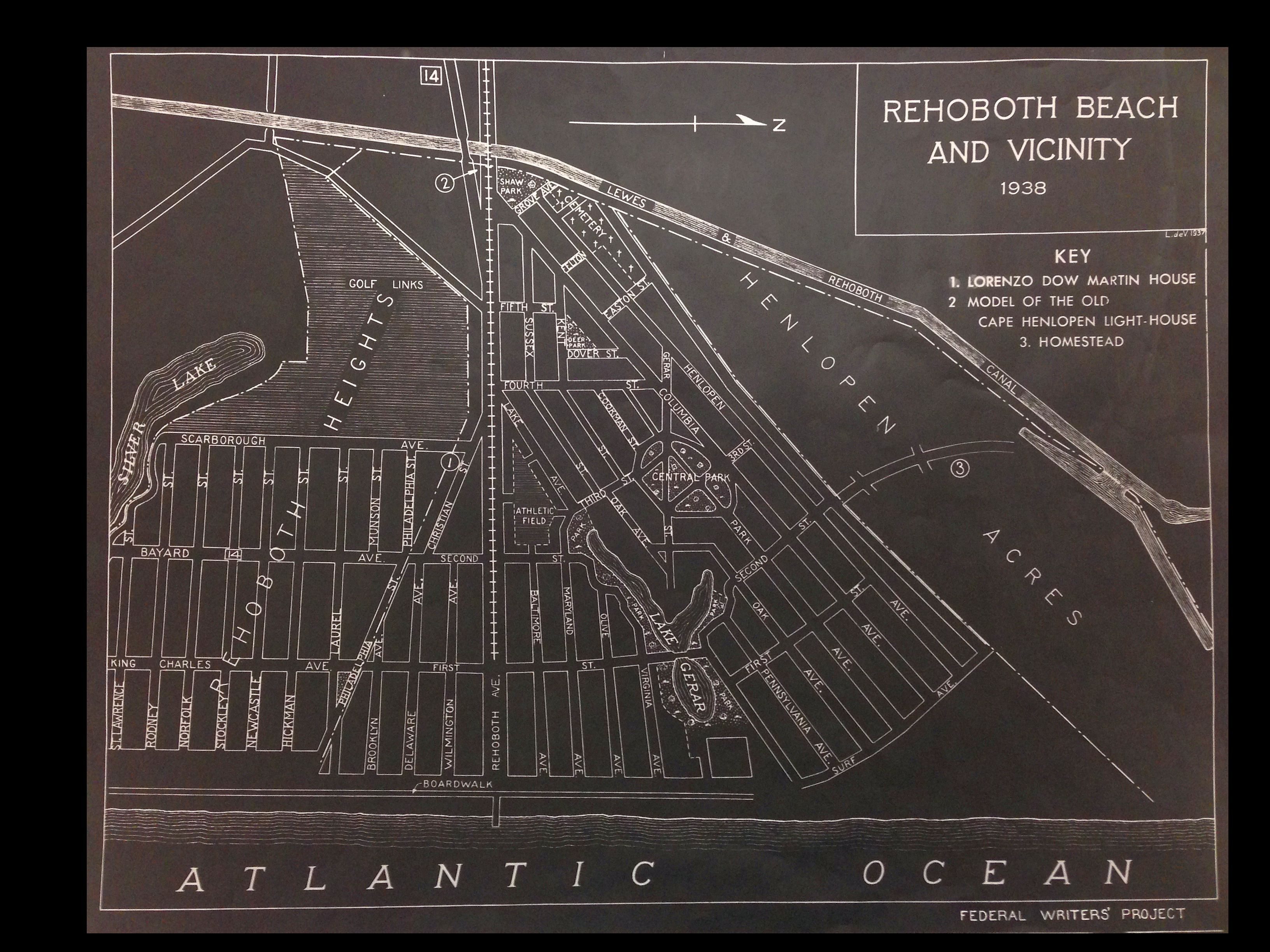 1938 Rehoboth Beach Delaware Map 1325 203 From Cities And Towns Collections At