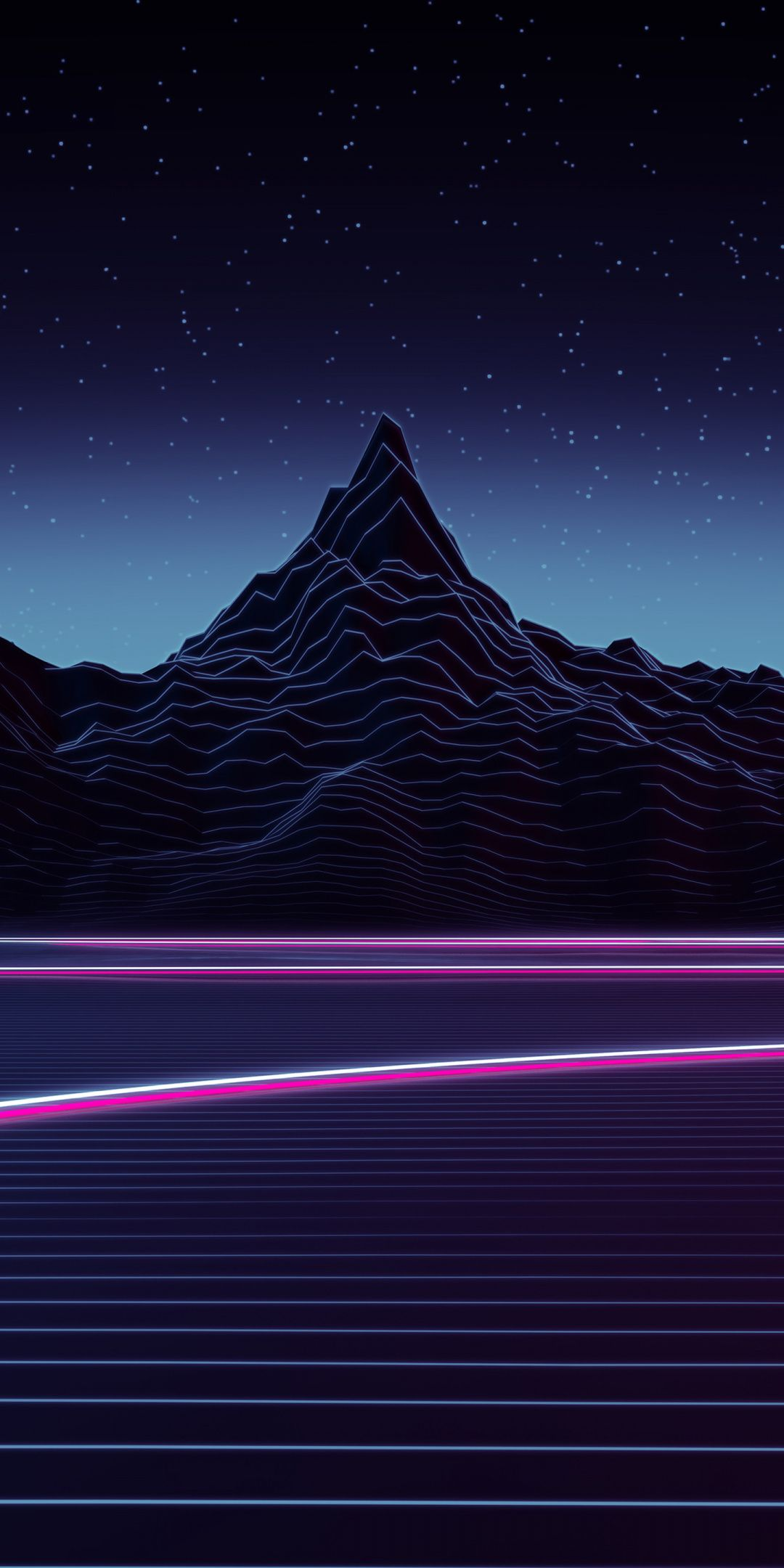 Neon Highway Mountains Landscape 1080x2160 Wallpaper With