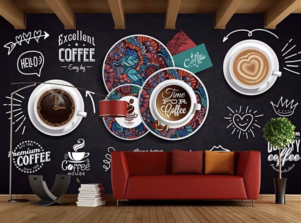 Vintage Coffee Wallpaper Mural In 2020 Coffee Wall Decor Coffee Wallpaper Vintage Coffee
