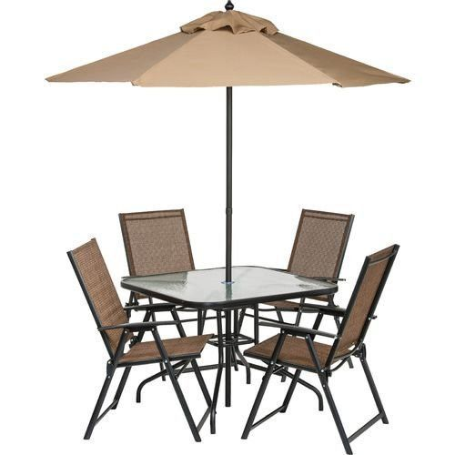 6 Piece Outdoor Folding Patio Set With Table 4 Chairs Umbrella And Built In Base
