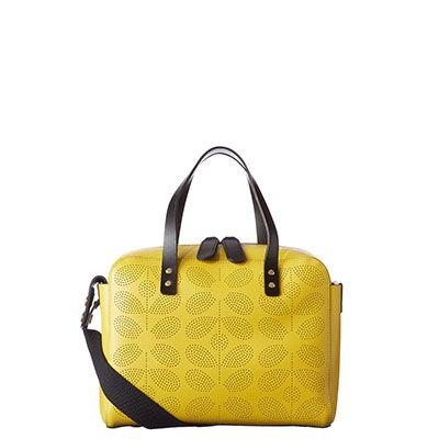 Tote Bag handmade ORLA KIELY Orange STEM Leather SHOPPING BAG fabric