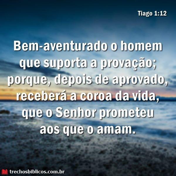 Tiago 1:12 | Versiculo motivacional, Palavra de deus, Frases cristãs