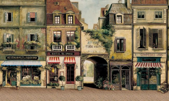 European Cafe Store French Street Scene Antique Flower Shop Wall paper Border