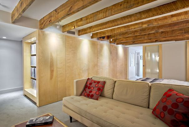 Room Of The Day Swank Basement Redo For A 100 Year Old Row House Low Ceiling Basement Guest Rooms Low Ceiling Basement