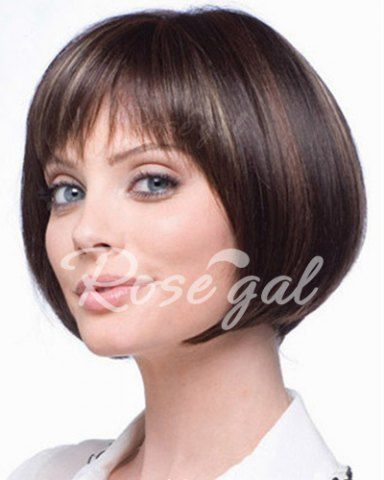 Fashion Full Bang Highlight Spiffy Short Straight Bob Synthetic Capless Wig For Women