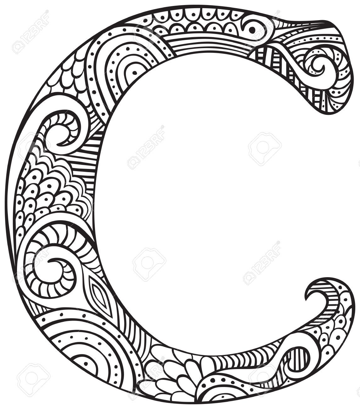 Stock Vector Letter C Coloring Pages Coloring Letters Coloring