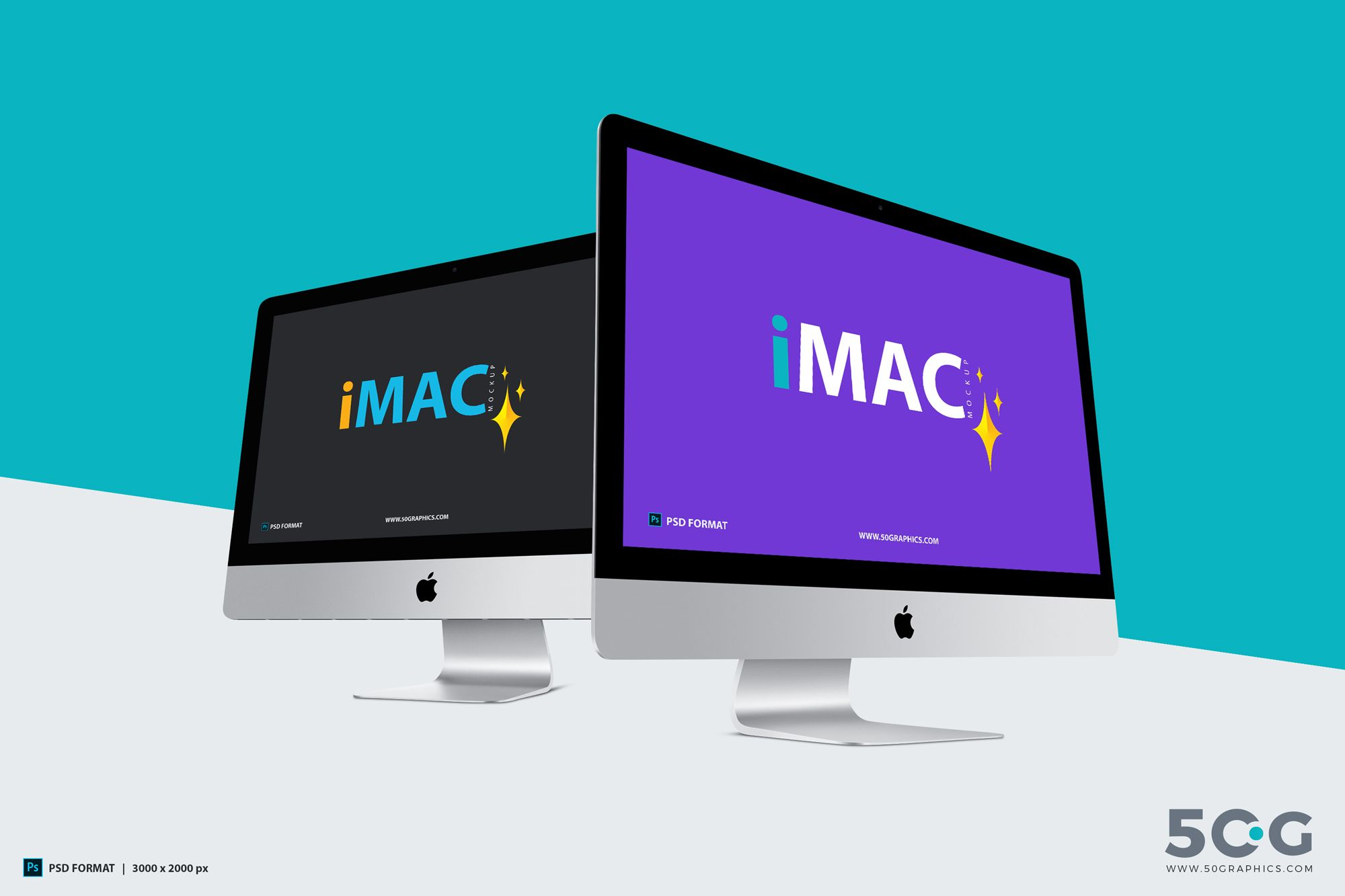 Free Imac Mockup With Two Different Perspective Imac Macbook Pro For Sale Ipad Wifi