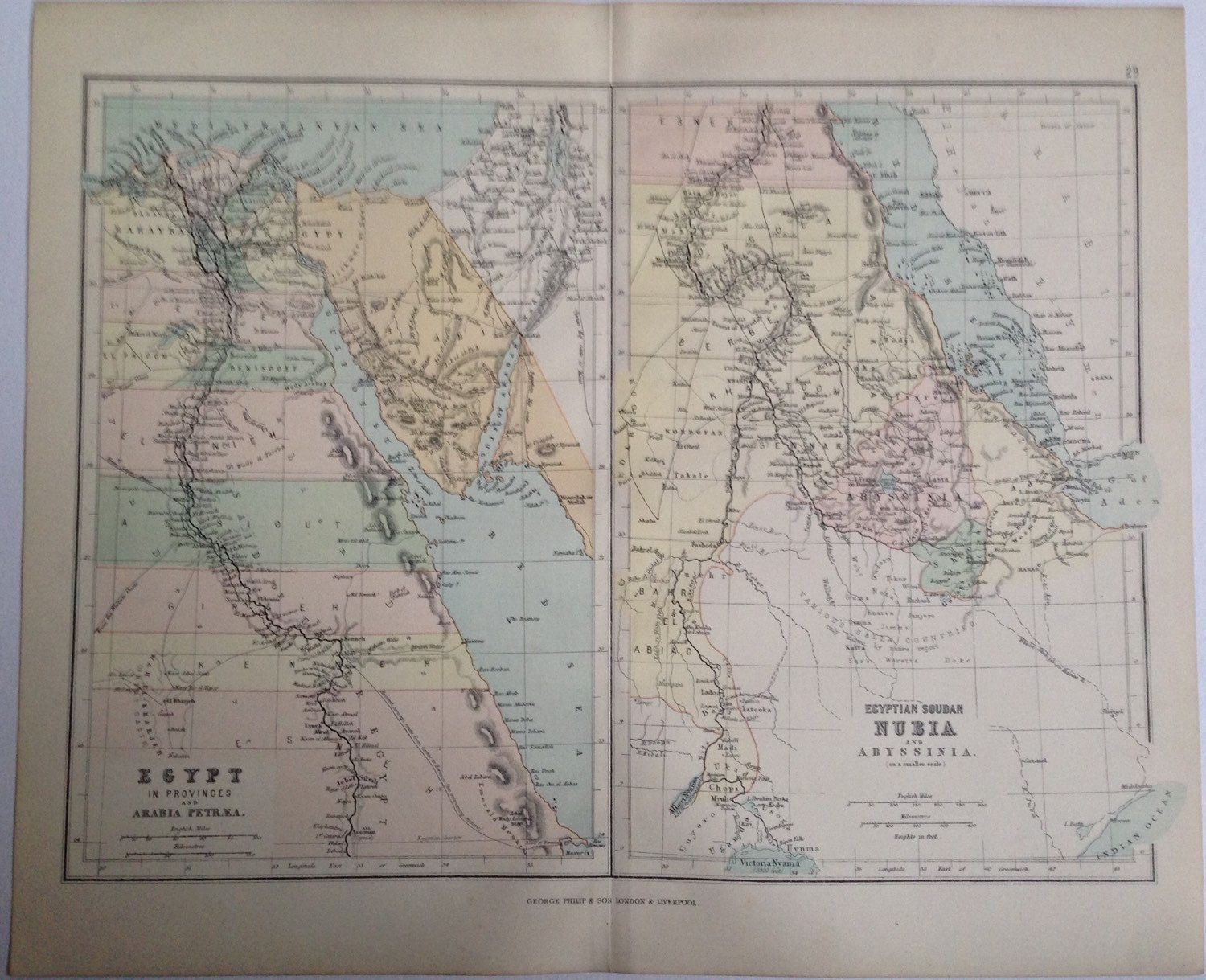 1887 Middle East original antique map colour historical vintage