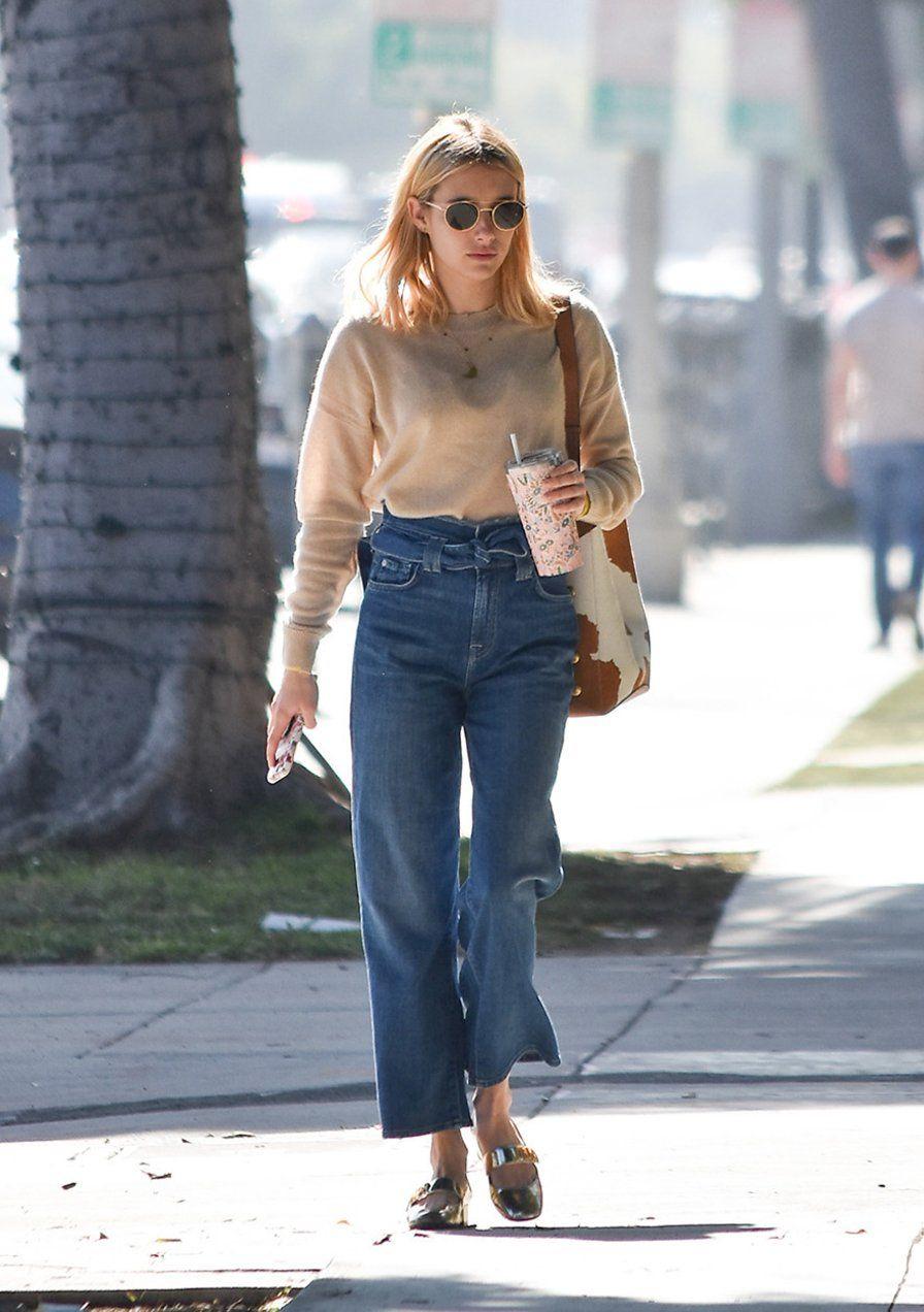 Paperbag Denims Sind Der Perfekte Jeans Trend Fur Kleine Frauen Wenn Man Sie Wie Emma Roberts Stylt Jeans Trend Perfekte Jeans Und Jeans
