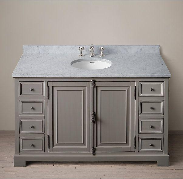 Extra Wide Double Bathroom Vanity rh's french casement extra-wide single vanity sink:panel doors and