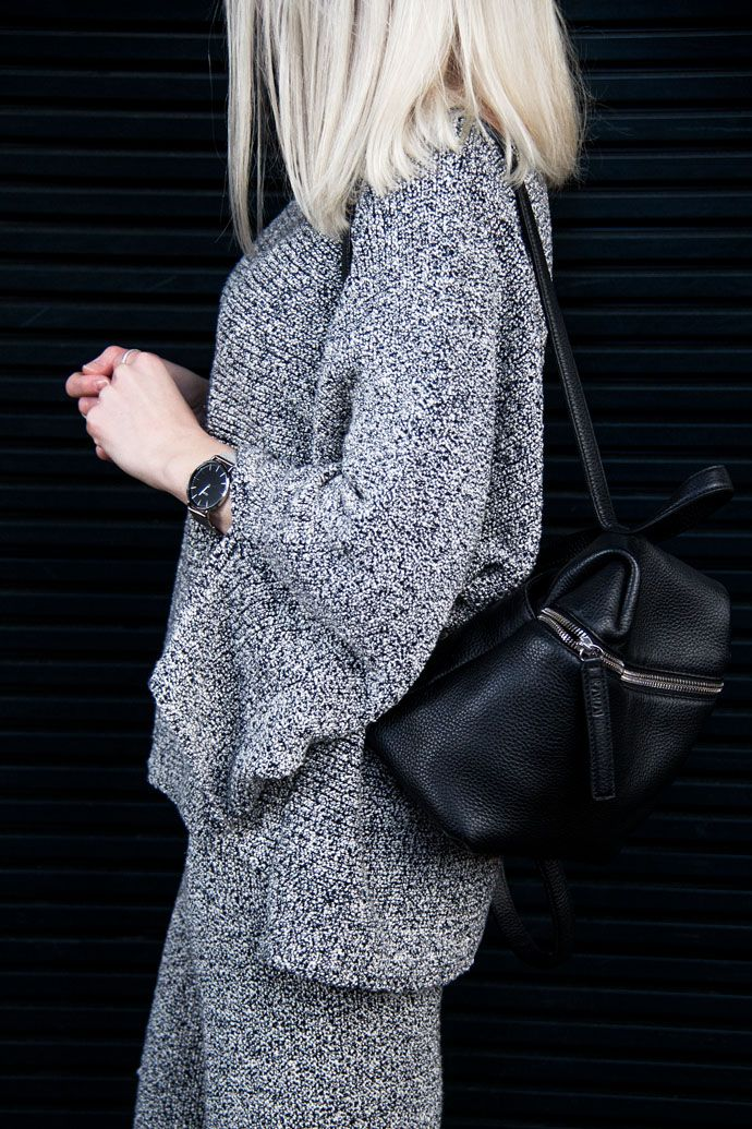 Matching set, backpack & Céline pumps | ChocolateHeels.com