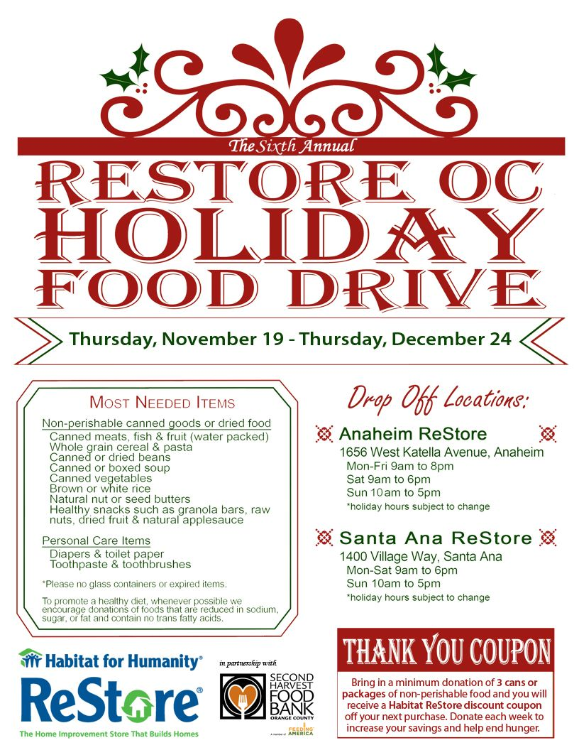 Join The Habitat For Humanity Restore S Holiday Food Drive In Partnership With Shfboc To Help Feed Hungry Holiday Recipes Non Perishable Food Items Food Drive