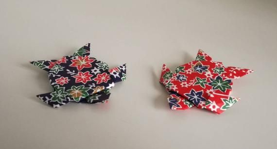 Photo of Set of 2 handmade origami red and blue flower patterned sea | Etsy