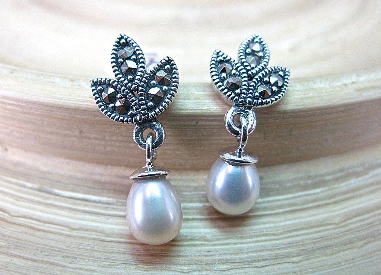 FaithOwl Water Drop Marcasite 925 Sterling Silver Stud Earrings