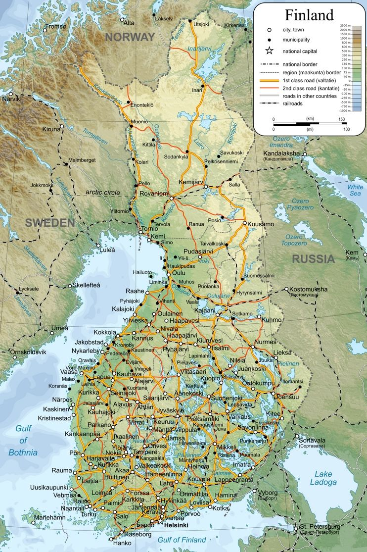 Large Detailed Map Of Finland With Cities And Towns Finland Map