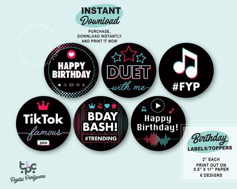 Tiktok Inspired Labels Printable Tiktok Toppers Musical Etsy Etiquetas De Cerveza Cerveza Etiquetas