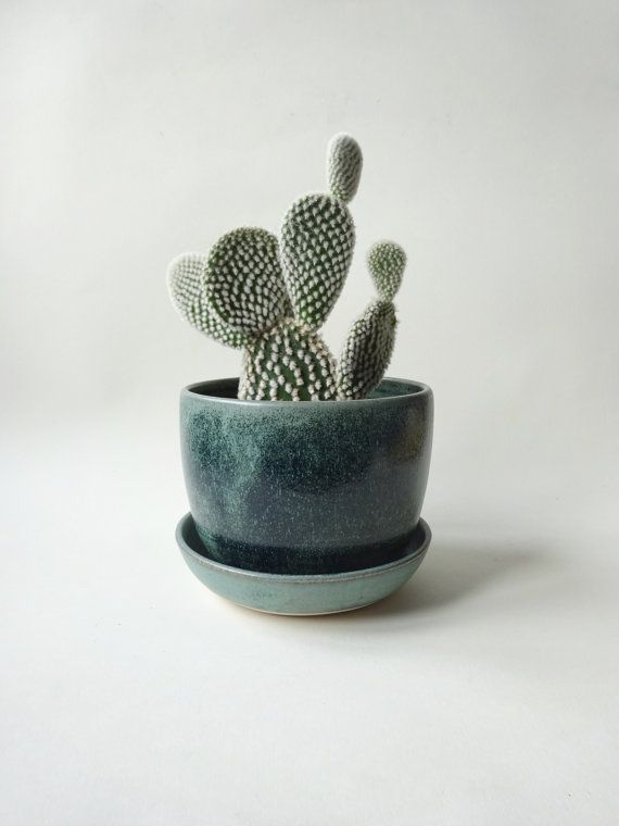Medium Pot With Drainage Hole And Tray Blue White Vase Handmade Ceramic Saucer Drip Succulent Small Plants