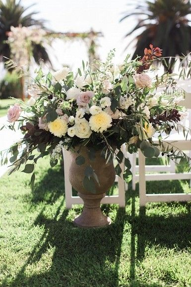 Pink and yellow wedding ceremony flowers | Planned by Ilana Ashley Events