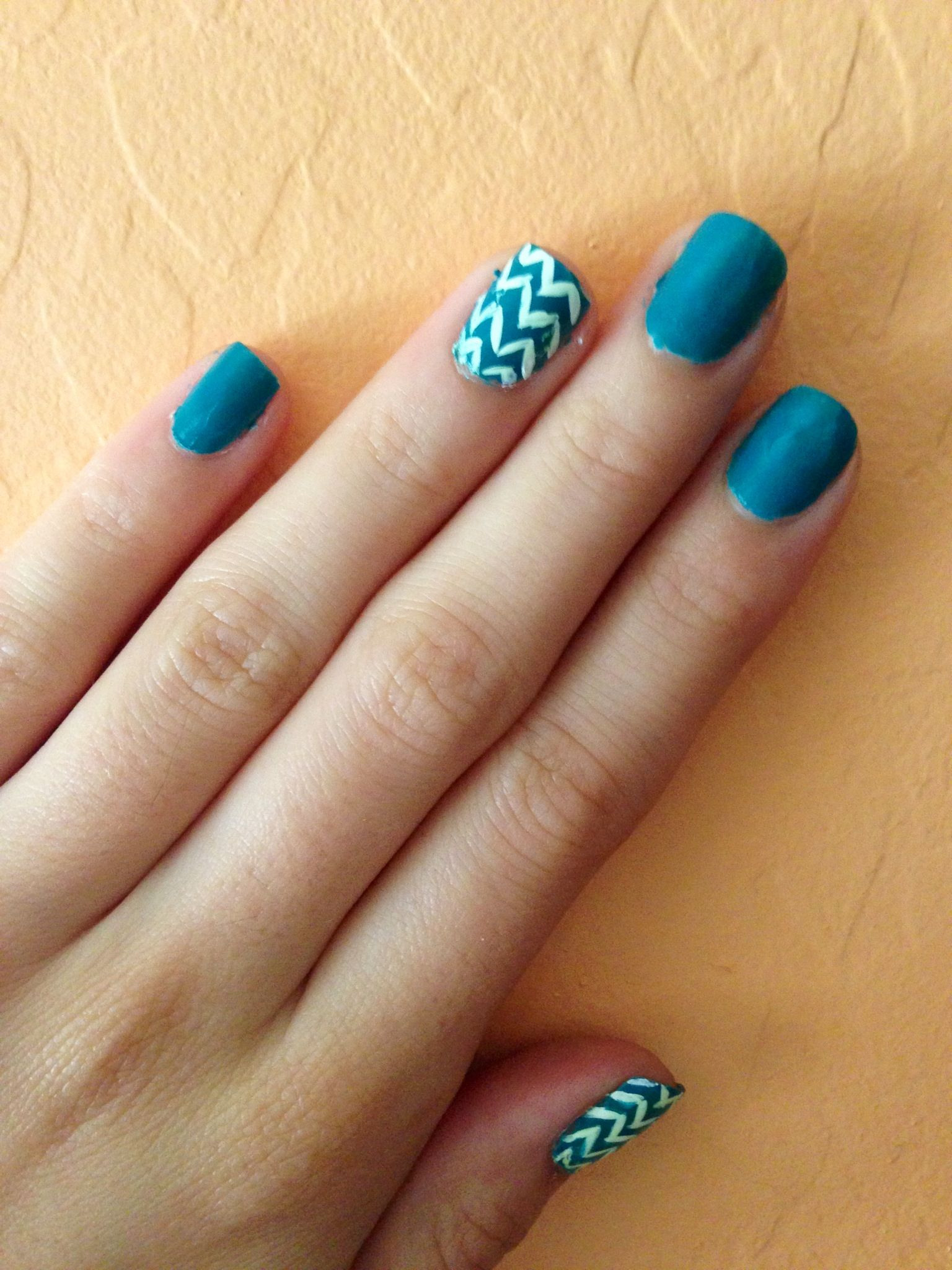 blue chevron nails nail