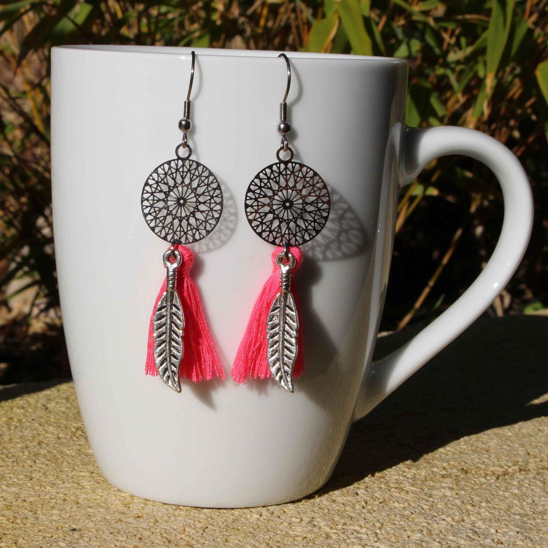 Boucles d'oreilles metal rose