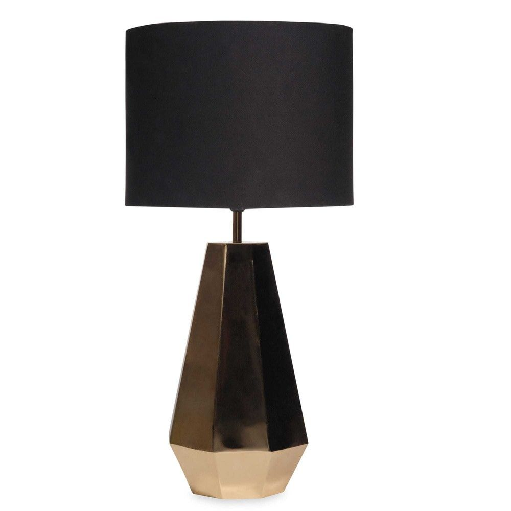 Gold Home Accessories Diamond Gold Lamp With Black Shade Maisons Du Monde Lámparas Mesa Salon Lámparas De Mesa