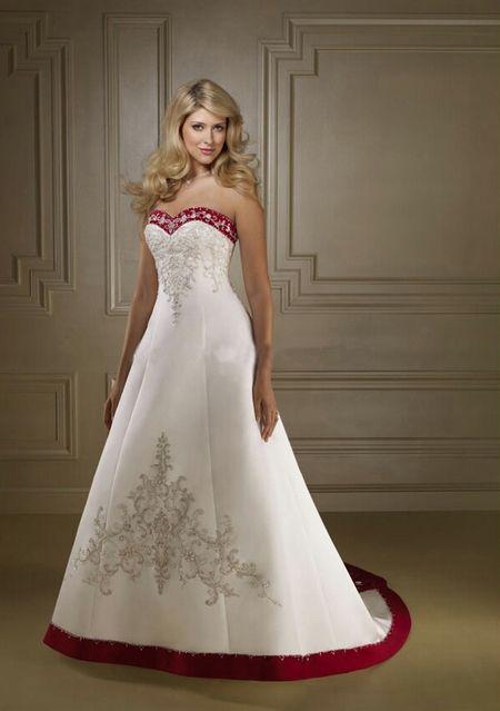 Robe de mariee blanche et rouge bustier