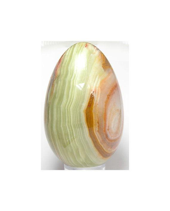 Onyx Polished Gemstone Egg Greens and orange by FenderMinerals