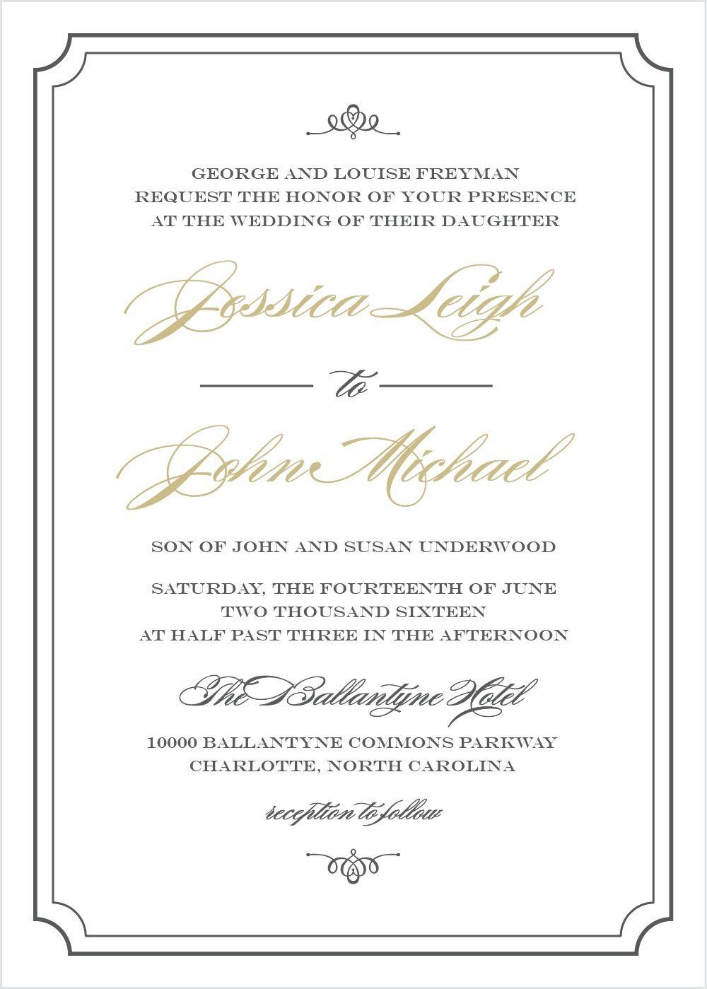 Elegant Script Wedding Invitations In 2019 Traditional