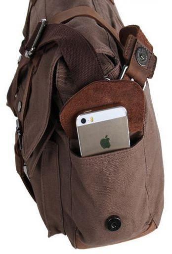 eaa21378c3162 side pockets fitting an iphone on the dark brown school messenger bag by  Serbags