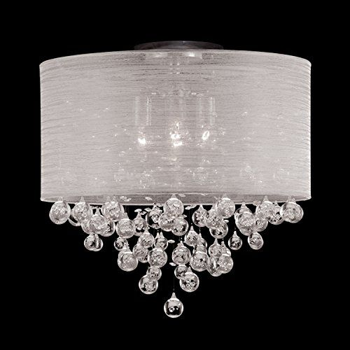 Drum round shade 4 lamp flush mount crystal balls ceiling light chandelier dia 21 x h